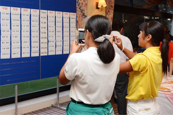 抽選会-写真その2。チーム代表者がくじ引きし、会場は大盛り上がり。抽選結果を写メに写す選手たち。