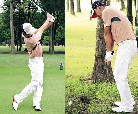 """(左)""""手のいたずら""""が原因のシャンクを直すためには、体幹を意識したスイングが不可欠(右)ラフからは、ロフトの立ったクラブで低めに出すのが基本"""