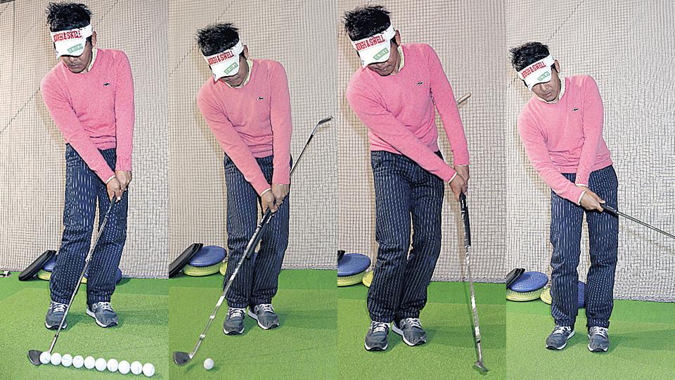 左から(1)プロのアプローチは5個のボールを打てるほどインパクトゾーンが長い。イメージでは10個のボールを打つほどでもいい(2)別のクラブを継ぎ足すようにウェッジのグリップを握る(3)継ぎ足したクラブのシャフトが体の左側面にぶつからないようにすると、インパクトゾーンが長いアプローチを習得できる(4)左手首が折れたシャクリ打ちの悪い例。インパクトゾーンが短い「1点勝負」ではミスの確率が大きい