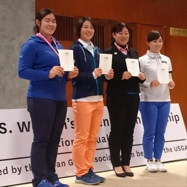 全米女子オープン日本予選で本戦出場権を獲得した上位4選手(左から)1位・川岸、2位・蛭田、3位・高山、4位・香妻