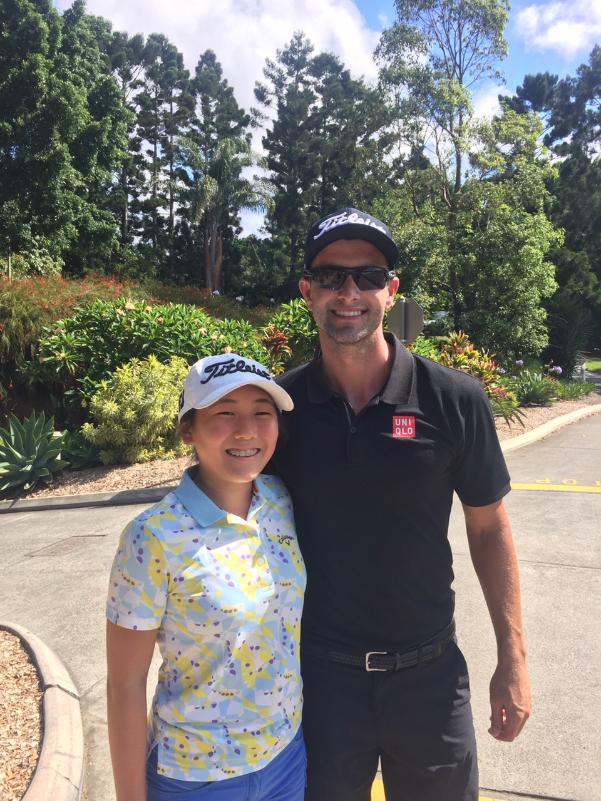 ロイヤルパインズで行われるAustarlia PGA Championshipで練習を終えたアダムスコットと