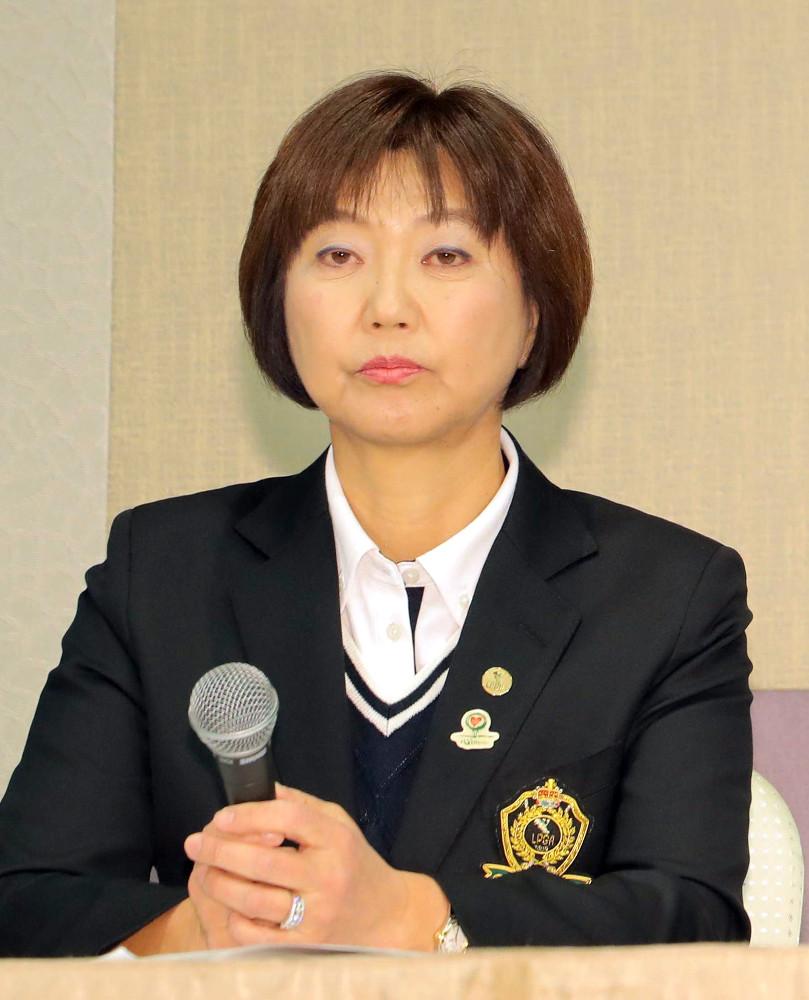 18日に会見した小林浩美LPGA会長