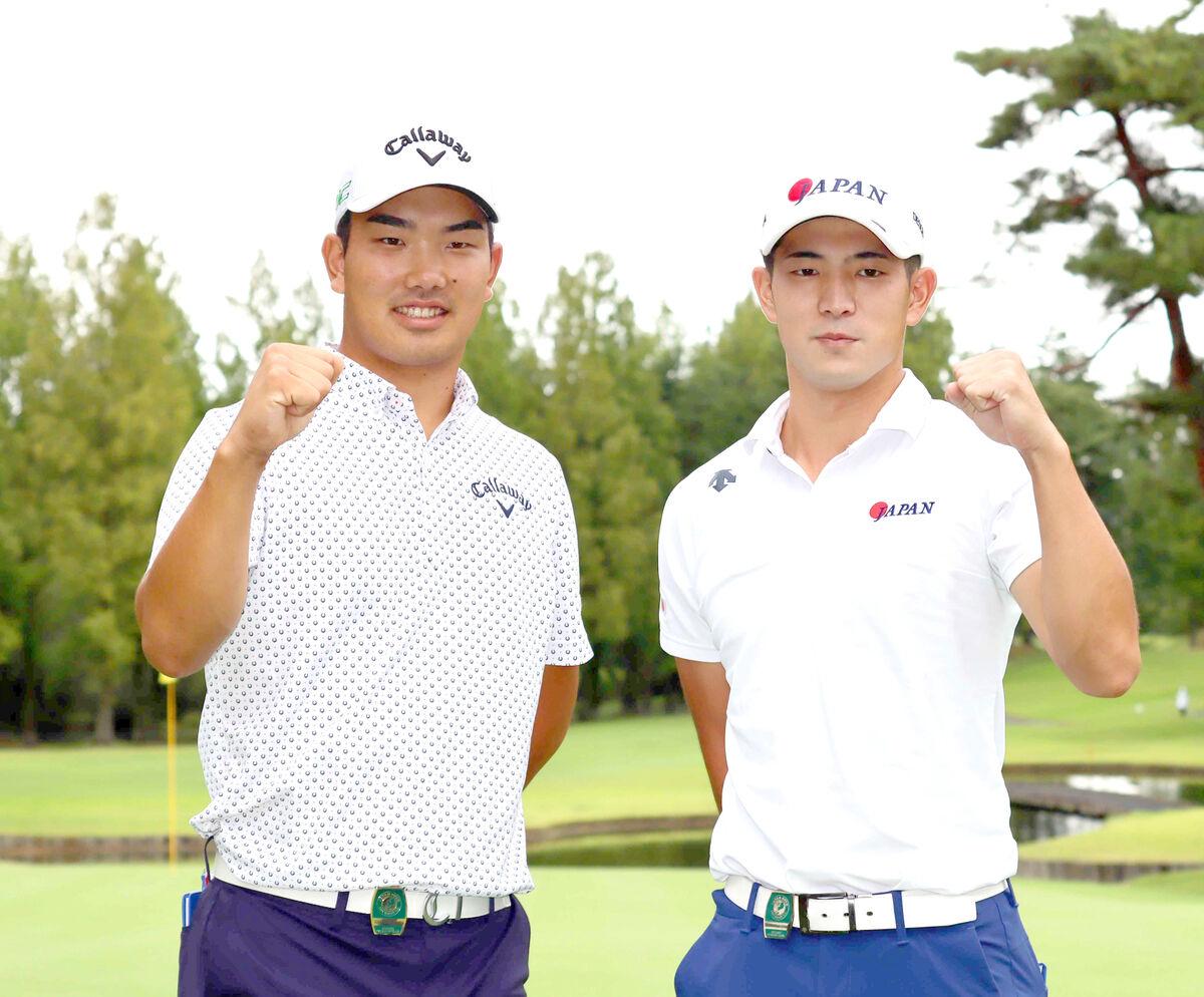 アマチュアとしてメジャー大会に挑む河本力(左)と中島啓太